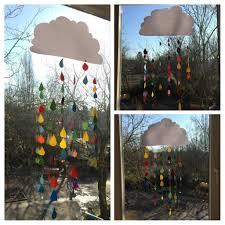 Bunte Regentropfen Wolke Schule Fensterdeko