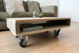 Coffee Table, Rustic Coffee Table On Wheels Small Coffee Table On Wheels:  Fantastic Coffee