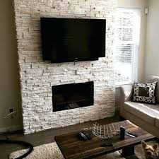 white dry stacked stone fireplace modern quartz veneer for feature