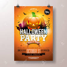 Halloween Dance Flyer Templates Halloween Party Flyer Vector Illustration With Scary Faced Pumpkin