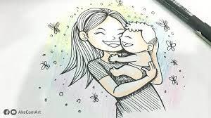 วาดรูปการ์ตูน วันแม่ | How To Draw Mother's Day | AkeComArt | สอนวาดรูป,  วันแม่