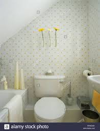 small economy style attic bathroom with yellow patterned white tiles tiles bathroom india tiles bathroom wickes