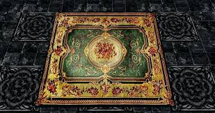 emerald green persian rug second life marketplace oriental gold