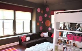 Dark Grey Wall With Colorful Bubble Decorating Also Black Sofa And White  Soft Carpet Also Bookshelving ...
