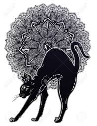 Vintage Black Cat With Arched Back Cat With Magic Mandala Symbol