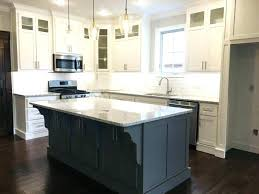 white shaker kitchen cabinets with black
