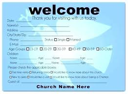 Welcome Card Templates Church Visitor Card Template