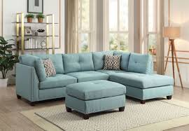 Light Blue Reclining Sofa Laurissa Light Teal Linen Sectional Sofa With Ottoman In