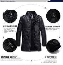black locomotive mens leather trench coat long section lining faux fur slim fit jacket winter fleece