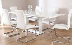 tokyo white high gloss extending dining table and 8 chairs set in extending dining room table