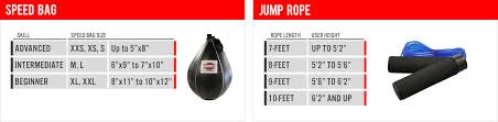 Speed Rope Size Chart Boxing Gloves Equipment Size Chart