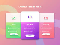 Web Design Package Pricing Price Table Ui Design Free Web Price Table Psd Adobe Xd