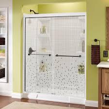 delta crestfield 60 in x 70 in traditional semi frameless sliding shower door