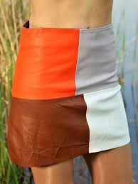 leather skirt made of genuine leather a line in colorful