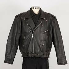details about men s heavy leather motorcycle jacket size 52 black