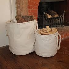 natural canvas kindling basket