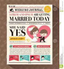 Cartoon Wedding Invitation Cards Designs Cartoon Newspaper Wedding Invitation Card Design Stock