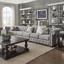 Knightsbridge Grey Linen Oversize Extra Long Tufted Chesterfield Modular  Sofa by iNSPIRE Q Artisan - Free Shipping Today - Overstock.com - 20661615