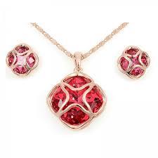 deep red swarovski crystal rose gold pt pendant necklace earrings set