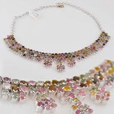 tourmaline necklace sterling silver 925 watermelon three flowers pendant semi precious stone rhodium natural stones necklaces 1