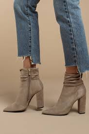 taupe susie suede slouchy booties tobi
