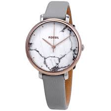 fossil es4377 women s jacqueline leather white marble dial