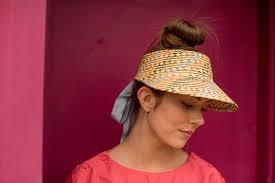 Jamie Slye Designs Jamie Slye The Clementine Straw Visor With Ribbon Tie Closure