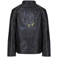 roberto cavalli kids boys black leather motorbike jacket with logo print