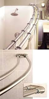 stainless steel adjule double curved shower rod in chrome tension curtain brushed nickel