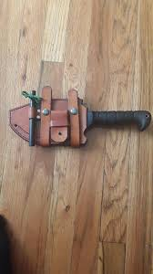 custom leather sheath for my kabar warthog with fire striker fishing kit and water purification tablets