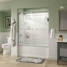 semi frameless contemporary sliding bathtub door in chrome with clear glass 810878 the home depot
