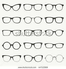 Glasses silhouette vector set. Collection of different of rim glasses types  - round, square