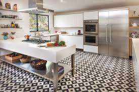 White tile flooring kitchen Classic Kitchen 6 Small Pattern Homedit 18 Beautiful Examples Of Kitchen Floor Tile