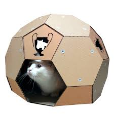 soccer cardboard cat house front left with cat
