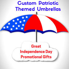 custom patriotic themed umbrellas make great independence day promotional gifts
