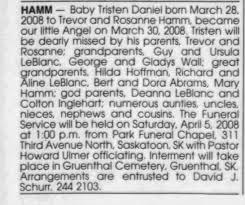 Obituary for Tristen HAMM - Newspapers.com