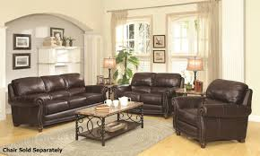 Coaster Lockhart   Brown Leather Sofa And Loveseat Set - All leather sofa sets