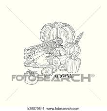 clipart organic vegetables still life hand drawn realistic sketch fotosearch search clip art