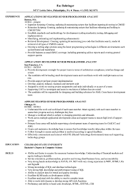 Developer Senior Programmer Analyst Resume Samples Velvet Jobs