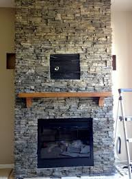 Attractive Home Interior Design Using Stone Fireplace Wall Panels :  Endearing Image Of Home Interior Decoration