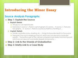 essay writing the minor essay introducing the minor essay  on  8 source