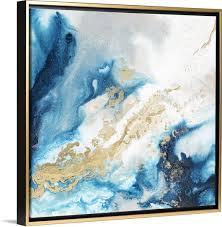 blue abstract art gold wall art