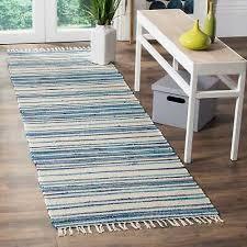 safavieh rag rug transitional stripe hand woven cotton ivory blue runner rug
