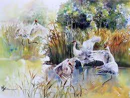 sand hill cranes by chinese artist lian quan zhen