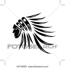 Clipart Design Clipart Of Head Of Indian Chief Black Silhouette For Your Design