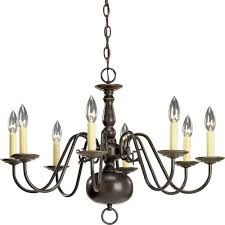 progress lighting americana antique bronze eight light chandelier with ivory finish candle sleeves