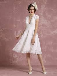 Kurze Hochzeit Kleid Spitze Ivory Brautkleid V Neck R Ckenfreie