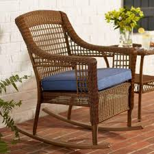 hampton bay spring haven brown all weather wicker outdoor patio rocking chair