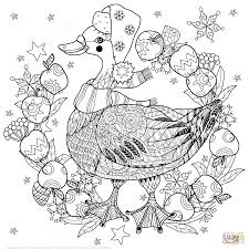 Christmas Goose With Apples Zentangle Coloring Page Free