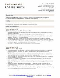 Training Specialist Resume Training Specialist Resume Samples Qwikresume